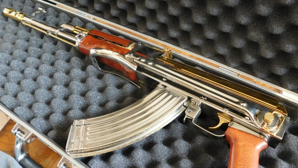 Three men arrested for taking target practice at school with a gold plated AK-47